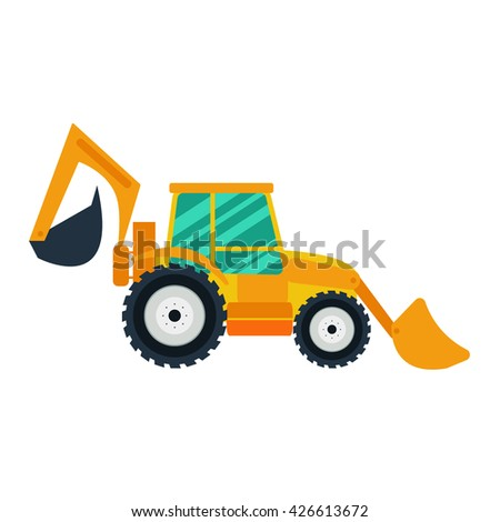 Yellow excavator on white background. Excavator in flat style. Agricultural Excavator.Agricultural vehicle and farm machine. Excavator illustration-business concept. Agriculture machinery. - stock vector