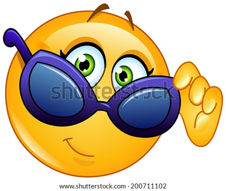 Yellow female ball looking over sunglasses - stock vector
