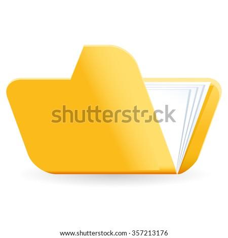 yellow file folder icon - stock vector