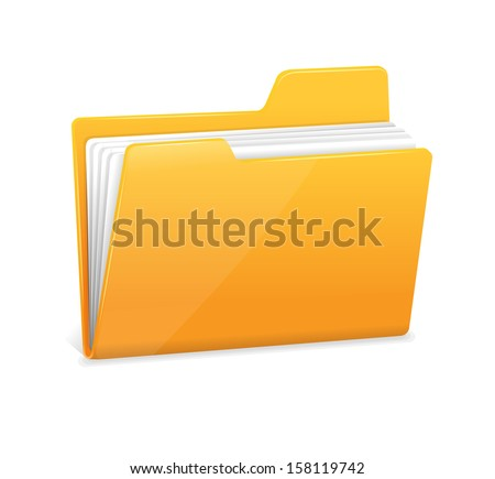 Yellow file folder icon isolated on white - stock vector