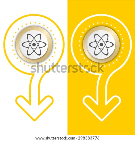 Yellow flat abstract arrow and science symbol - stock vector