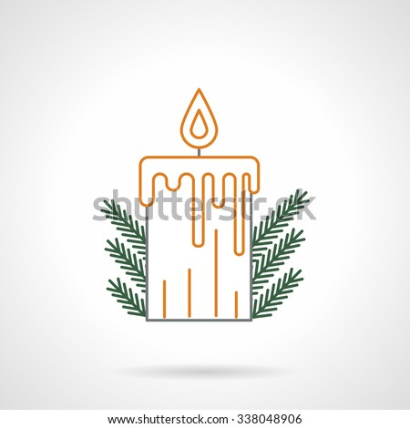Yellow flat line style xmas candle with flame and green fir branches decor. Flat line vector icon. Buttons and design elements for website, mobile app, business.  - stock vector