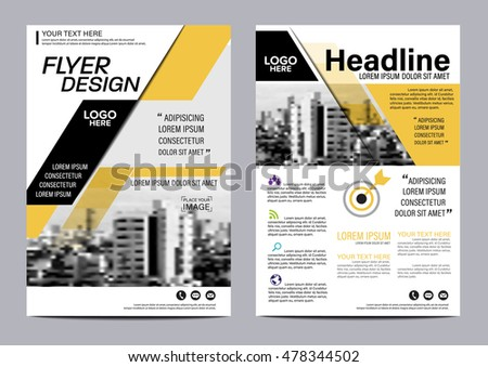 Yellow Flat Modern Brochure Layout Design Stock Vector 478344553