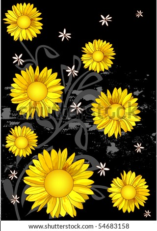 Yellow flowers sunflower - stock vector