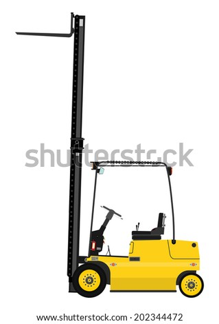 Yellow fork lift truck on a white background. Vector  - stock vector