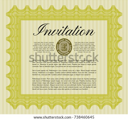 Yellow formal invitation detailed complex background stock vector yellow formal invitation detailed with complex background modern design stopboris Choice Image