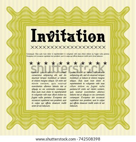 Yellow Formal Invitation Template Guilloche Pattern Stock Vector