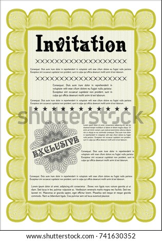 Yellow formal invitation vector illustration complex stock vector yellow formal invitation vector illustration with complex linear background money pattern design stopboris Images
