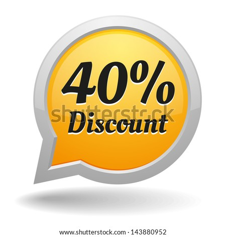 Yellow forty percent discount speech bubble