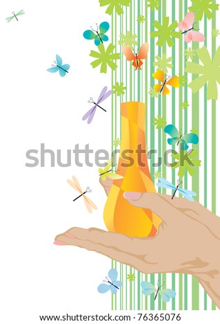 yellow fragrance and butterflies - stock vector