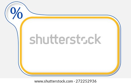 Yellow frame for your text and percent icon - stock vector
