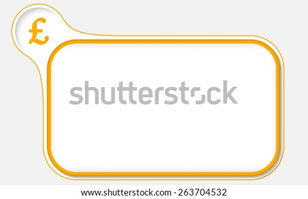 yellow frame for your text and pound sterling symbol - stock vector