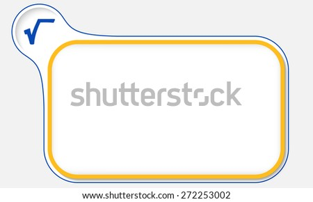 Yellow frame for your text and radix icon - stock vector