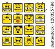 Yellow funny vector emoticons. - stock vector