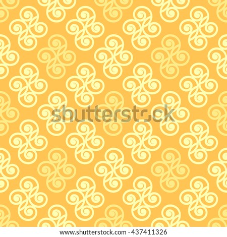 Yellow geometrical seamless pattern with abstract floral ornament. Beautiful light texture for textile, wallpaper, wrapping paper and for your backdrop. Seamless background. Vector illustration - stock vector