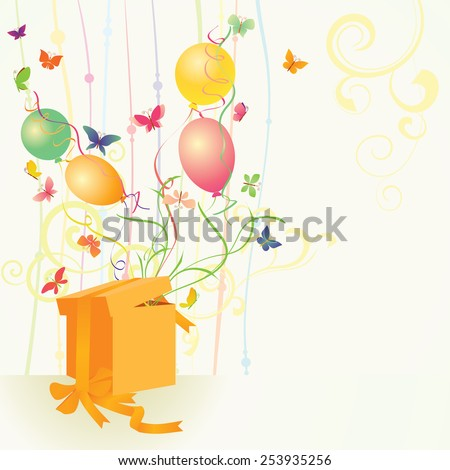 yellow gift box with butterflies and balloons - stock vector