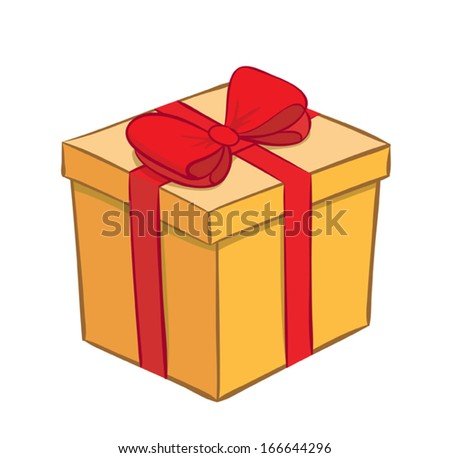 yellow gift box with red ribbon - vector