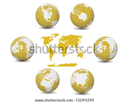 Yellow Globes Collection Vector Isolated on White - stock vector