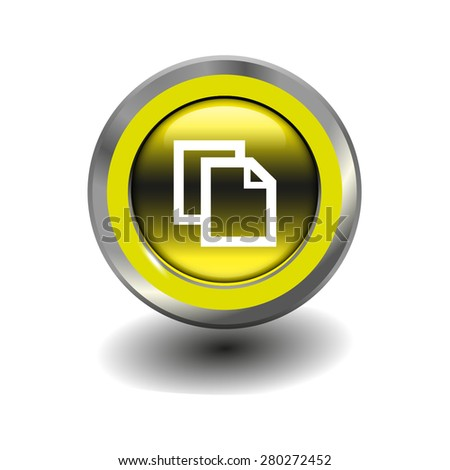 Yellow glossy button with metallic elements and white icon copy, vector design for website - stock vector