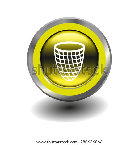 Yellow glossy button with metallic elements and white icon trash can, vector design for website - stock vector
