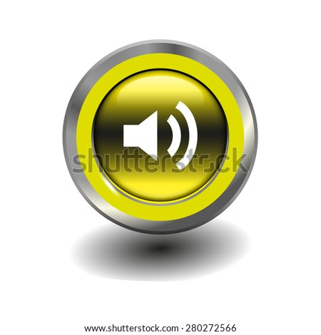 Yellow glossy button with metallic elements and white icon volume high, vector design for website - stock vector