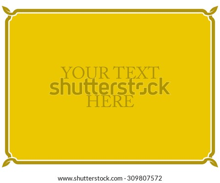 Yellow gold border frame deco vector art simple line corner - stock vector