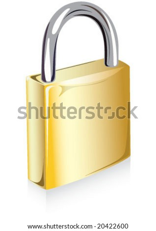 Yellow gold color new padlock icon - stock vector
