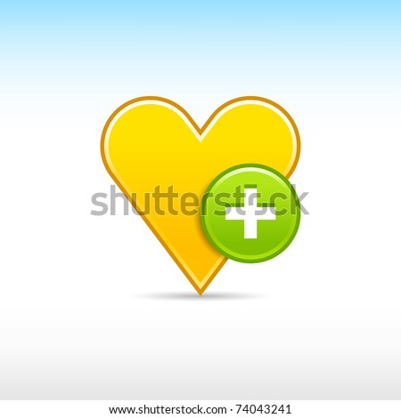 Yellow gold heart favorite web 2.0 icon with green button plus and shadow on white - stock vector