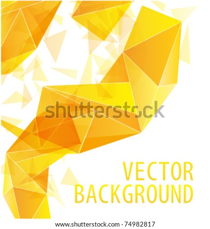 Yellow gold triangle abstract vector background - stock vector
