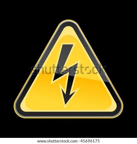Yellow golden hazard warning sign with high voltage symbol on black background - stock vector
