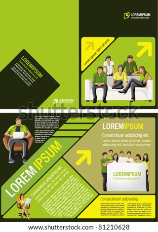 Yellow, green and black template for advertising brochure with students - stock vector