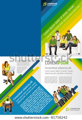 Yellow, green and blue template for advertising brochure with students - stock vector