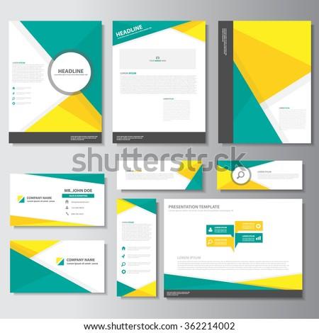 Yellow green business card banner brochure flyer leaflet presentation templates Infographic elements flat design set  - stock vector