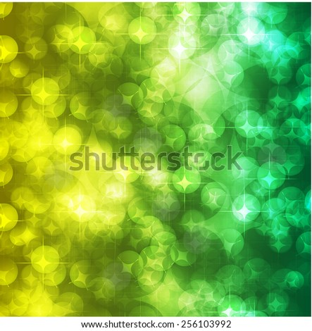 yellow green Defocused Light, Flickering Lights, Vector abstract festive background with bokeh defocused lights. - stock vector