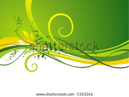 Yellow-green design with waves & leaves