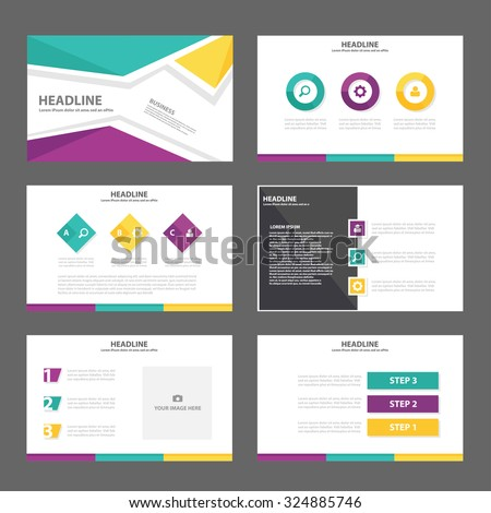 Yellow green purple Multipurpose Infographic elements and icon presentation template flat design set for advertising marketing brochure flyer leaflet - stock vector