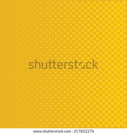 yellow halftone pop art background rounds vector - stock vector
