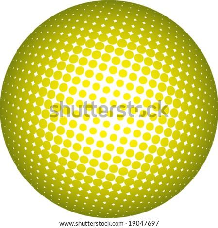 Yellow halftone sphere - stock vector