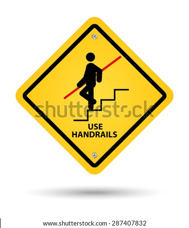yellow handrail sign, caution - stock vector
