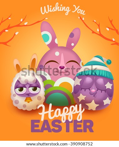 Yellow happy easter card with easter rabbit