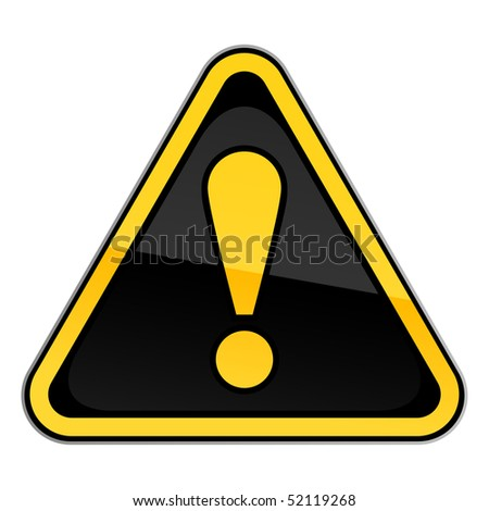 Yellow hazard warning attention sign with exclamation mark on white - stock vector