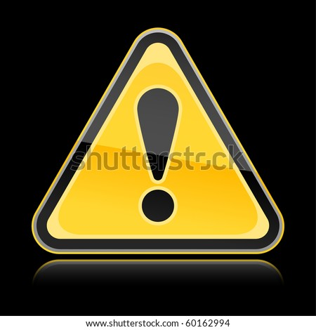 Yellow hazard warning attention sign with exclamation mark symbol on black background - stock vector
