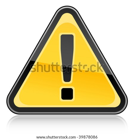 Yellow hazard warning attention sign with exclamation mark symbol on white background