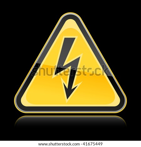 Yellow hazard warning sign with high voltage symbol on black background - stock vector