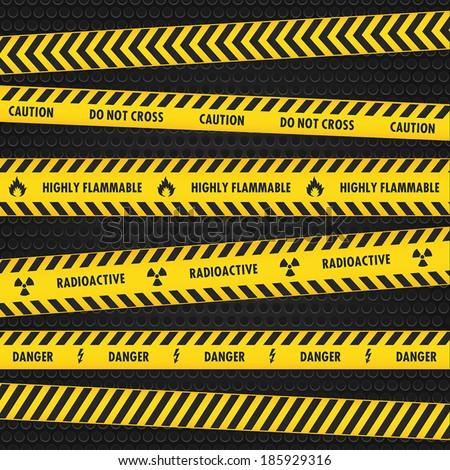 Yellow Hazard Warning Tapes  - stock vector