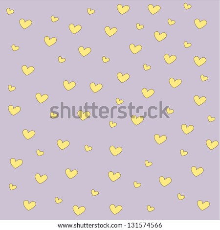 Yellow heart  background - stock vector
