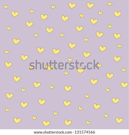 Yellow heart  background - stock vector