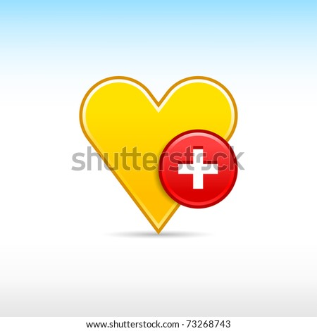 Yellow heart favorite web 2.0 icon with red button add and shadow on white