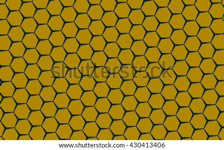 yellow honeycomb vector pattern - stock vector