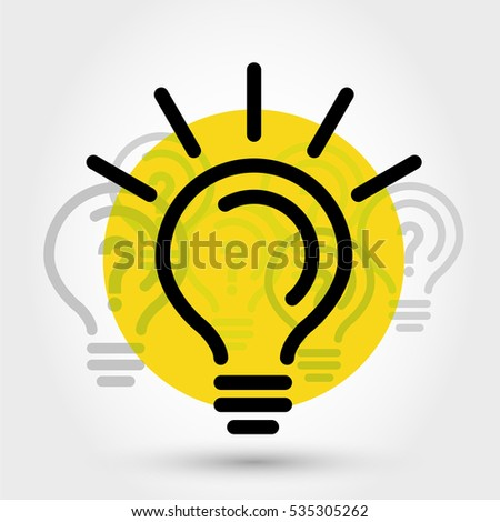 yellow idea illustration with bulbs, outline concept